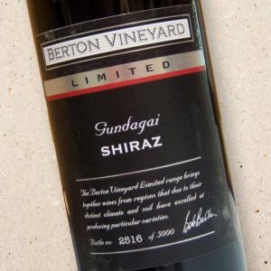 Berton Vineyard Limited Release Single Vineyard Gundagai Shiraz